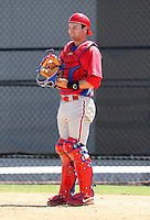 March 30, 2010:  Catcher Tim Kennelly of the Philadelphia Phillies organization during Spring Training at the Carpenter Complex in Clearwater, FL.  Photo By Mike Janes/Four Seam Images
