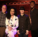 "Eugene Gwozdz, Nicole Vanessa Ortiz, Bosco Sheff and Eric Brown performing a press preview of  ""Becoming Her : A Diva's Tribute""  at Feinsteins/54 Below on February 21, 2019 in New York City."