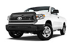Stock pictures of low aggressive front three quarter view of a 2015 Toyota Tundra 5.7 Auto SR Regular Cab 2 Door Truck Low Aggressive