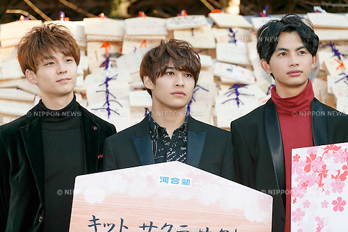 Members of the boy band EBiSSH attend a special Kit Kat event to encourage Japanese students for the next school entrance exams, at Yushima Tenjin Shrine on January 12, 2017, Tokyo, Japan. Nestle's Kit Kat product is popular with students because its pronunciation in Japanese sounds like ''Kitto Katsu'' which means ''surely win''. Every year Japanese students tie hand-written wishes and messages at the shrine, wishing for luck in passing entrance exams to high school and colleges. The Yushima Tenjin Shrine is dedicated to the god of learning. (Photo by Rodrigo Reyes Marin/AFLO)