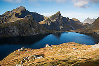 Hermannsdalstinden mountain peak (left) in Autumn, Moskenesøya, Lofoten Islands, Norway