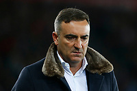 Swansea City manager Carlos Carvalhal looks dejected during the Premier League match between Swansea City and Southampton at Liberty Stadium, Swansea, Wales, UK. Tuesday 08 May 2018