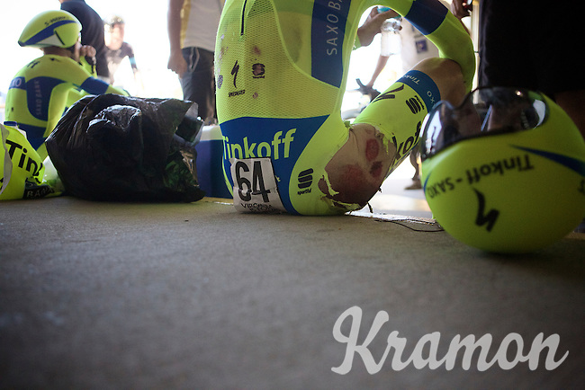 Christopher Juul-Jensen (DEN/Tinkoff-Saxo) seriously bruised in a +50km/h crash<br /> <br /> Elite Men&rsquo;s Team Time Trial<br /> UCI Road World Championships Richmond 2015 / USA