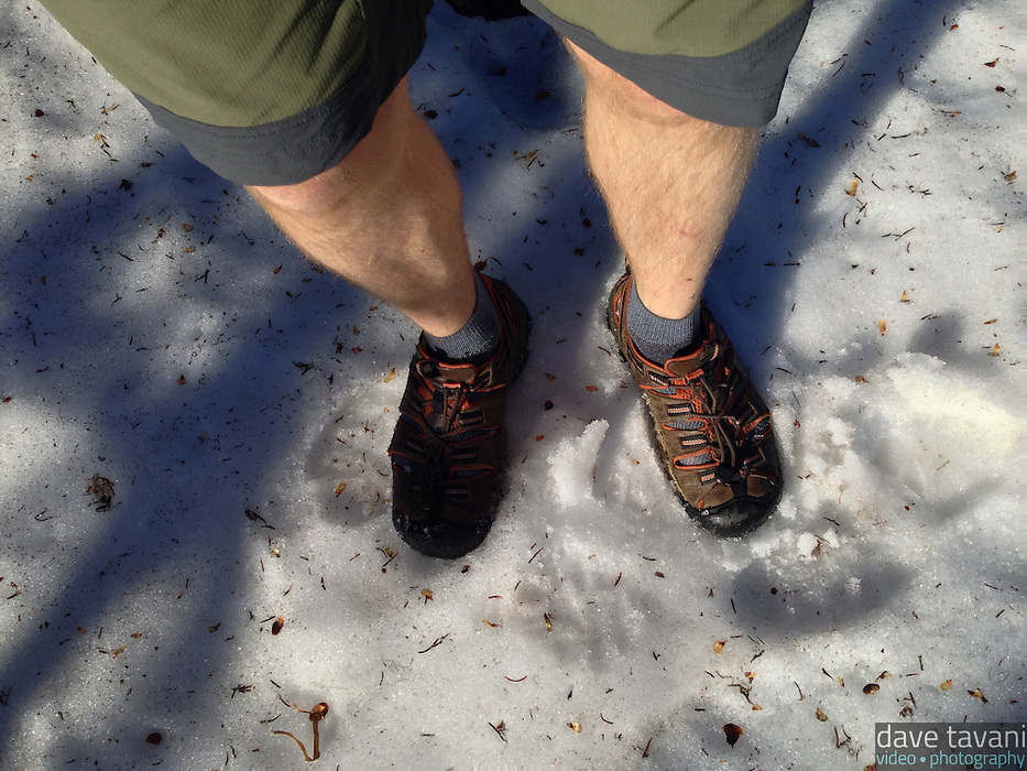 Much of the Naches Peak Loop Trail was covered in snow. This was some of the softer snow I encountered with my somewhat inadequate footwear.