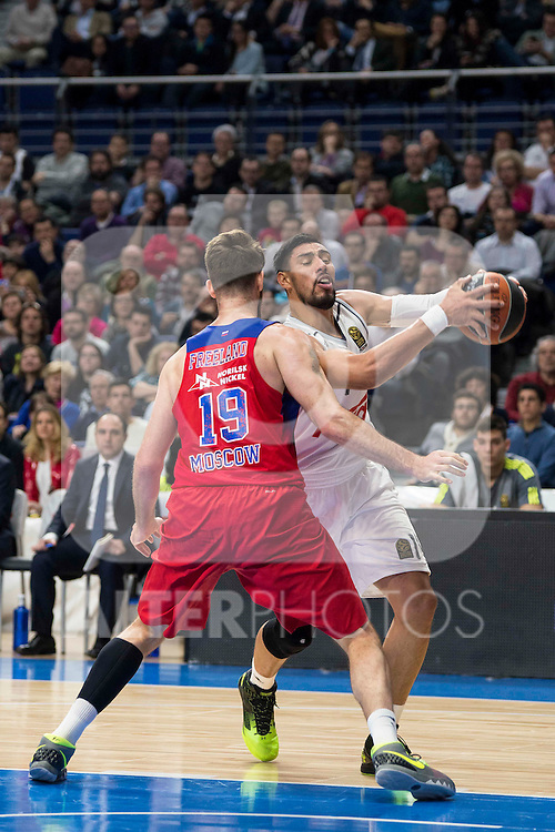 Real Madrid's player Gustavo Ayon and Felipe Reyes and CSKA Moscu's player Freeland during the match between Real Madrid and CSKA Moscu of Turkish Airlines Euroleague at Barclaycard Center in Madrid, March 02, 2016. (ALTERPHOTOS/BorjaB.Hojas) during the match between Real Madrid and CSKA Moscu of Turkish Airlines Euroleague at Barclaycard Center in Madrid, March 02, 2016. (ALTERPHOTOS/BorjaB.Hojas) and CSKA Moscu's player Khryapa during the match between Real Madrid and CSKA Moscu of Turkish Airlines Euroleague at Barclaycard Center in Madrid, March 02, 2016. (ALTERPHOTOS/BorjaB.Hojas) during the match between Real Madrid and CSKA Moscu of Turkish Airlines Euroleague at Barclaycard Center in Madrid, March 02, 2016. (ALTERPHOTOS/BorjaB.Hojas) and CSKA Moscu's player Freeland during the match between Real Madrid and CSKA Moscu of Turkish Airlines Euroleague at Barclaycard Center in Madrid, March 02, 2016. (ALTERPHOTOS/BorjaB.Hojas) during the match between Real Madrid and CSKA Moscu of Turkish Airlines Euroleague at Barclaycard Center in Madrid, March 02, 2016. (ALTERPHOTOS/BorjaB.Hojas)