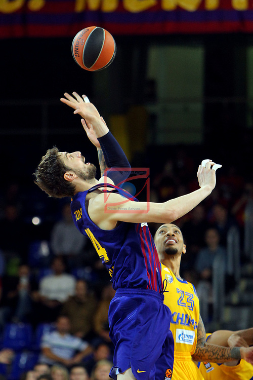 Turkish Airlines Euroleague 2018/2019. <br /> Regular Season-Round 30.<br /> FC Barcelona Lassa vs Khimki Moscow Region: 83-74. <br /> Ante Tomic vs Malcolm Thomas.