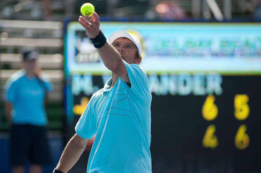 Mats Wilander (SWE) in action during his defeat by Aaron Krickstein (USA) in their 3rd/4th Place Play Off match today - A Krickstein (USA) d M Wilander (SWE) 4-6 7-5 10-5..Tennis - ATP Champions Tour - 2013 Delray Beach International Tennis Championships - Day 3 - Sunday 24th February 2013 - Delray Beach Stadium & Tennis Center - Delray Beach - Florida - USA..© CameraSport - 43 Linden Ave. Countesthorpe. Leicester. England. LE8 5PG - Tel: +44 (0) 116 277 4147 - admin@camerasport.com - www.camerasport.com