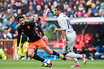 Daniel Parejo Munoz (l) of Valencia CF competes for the ball with Carlos Henrique Casemiro of Real Madrid during their La Liga match between Real Madrid and Valencia CF at the Santiago Bernabeu Stadium on 29 April 2017 in Madrid, Spain. Photo by Diego Gonzalez Souto / Power Sport Images
