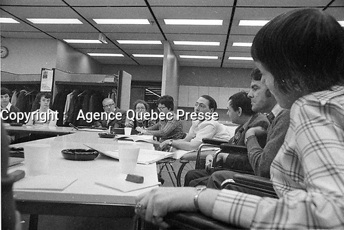 FILE PHOTO Claude Brunet in the seventies (exact date unknown)<br /> <br /> Claude Brunet, CM was a paraplegic man who campaigned for patients rights in Quebec. He founded the Quebec Provincial Committee of Patients in 1972. In 1979, he sued hospital staff at Saint-Charles-Borromee, Quebec in a class action suit on behalf of fellow patients after a series of illegal work stoppages left fellow patients at the hospital uncared for long periods of time(once for four days). He won his case in January 1981.<br /> <br /> PHOTO : Alain Renaud - Agence Quebec Presse