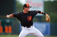GCL Orioles third baseman Frank Crinella (9) throws to first during the first game of a doubleheader against the GCL Rays on August 1, 2015 at the Ed Smith Stadium in Sarasota, Florida.  GCL Orioles defeated the GCL Rays 2-0.  (Mike Janes/Four Seam Images)