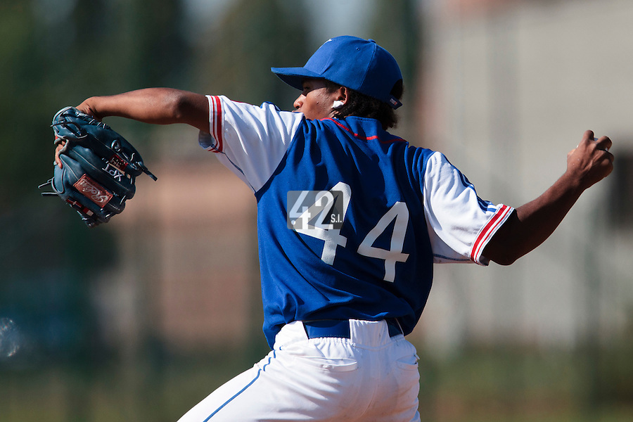 20 August 2010: Edison Garcia Martinez of Team France pitches against Italy during France 6-5 win over Italy, at the 2010 European Championship, under 21, in Brno, Czech Republic.