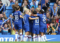 Chelsea Women congratulate Bethany England after scoring their opening goal during Chelsea Women vs Tottenham Hotspur Women, Barclays FA Women's Super League Football at Stamford Bridge on 8th September 2019