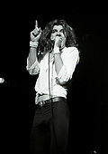 URIAH HEEP - vocalist John Sloman - performing live on the 10th Anniversary tour at the Odeon in Birmingham UK - 01 Feb 1980.  Photo credit: George Bodnar Archive/IconicPix