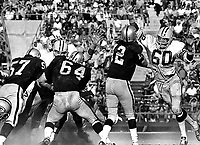 Raiders vs. Green Bay Packers, Ken Stabler passing, #64 George Buehler, Lee Row Caffey<br />(1970 photo/Ron Riesterer)