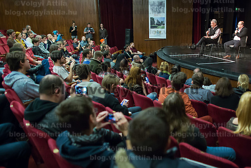 US actor John de Lancie (2nd R on the top) talks on stage during a meeting with his fans in Budapest, Hungary on January 11, 2015. ATTILA VOLGYI