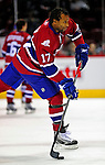 4 December 2008: Montreal Canadiens' right wing forward Georges Laraque warms up prior to facing the New York Rangers for their first meeting of the season at the Bell Centre in Montreal, Quebec, Canada. The Canadiens, celebrating their 100th season, played in the circa 1915-1916 uniforms for the evenings' Original Six matchup. *****Editorial Use Only*****..Mandatory Photo Credit: Ed Wolfstein Photo