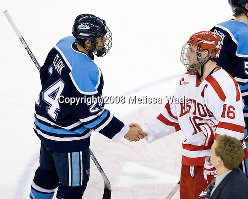 Wes Clark (Maine - 24), Pete MacArthur (BU - 16) - The Boston University Terriers defeated the University of Maine Black Bears 1-0 (OT) on Saturday, February 16, 2008 at Agganis Arena in Boston, Massachusetts.