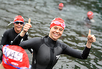 PICTURE BY VAUGHN RIDLEY/SWPIX.COM...Swimming - British Gas Great Salford Swim 2011- Salford Quays, Manchester, England - 15/05/11...British Gas Swimmers take part in the Red Wave. Liz Anderson.