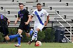 30 August 2015: Duke's Macario Hing-Glover (27) and DePaul's Philipp Koenigstein (GER) (20). The Duke University Blue Devils hosted the DePaul University Blue Demons at Koskinen Stadium in Durham, NC in a 2015 NCAA Division I Men's Soccer match.