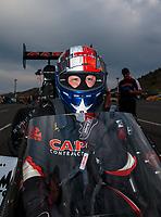 Jul 20, 2018; Morrison, CO, USA; NHRA top fuel driver Steve Torrence during qualifying for the Mile High Nationals at Bandimere Speedway. Mandatory Credit: Mark J. Rebilas-USA TODAY Sports