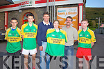 At the presentation of the South Kerry U16's Football Kit on Friday night were l-r; Sam Dwyer, Fiona?n Clifford, Darby Clifford(Trainer), Tracey O'Neill(Fitzpatrick's Sports & Leisure, Cahersiveen), John O'Sullivan(South Kerry Bord na nO?g Chairman) & Sean O'Sullivan.