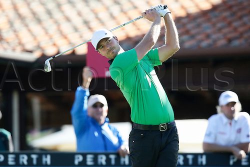 25.02.2016. Perth, Australia. ISPS HANDA Perth International Golf. Jens Fahrbring (SWE) hits his first shot for the tournament on tee 1 day 1.