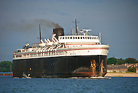 The Badger, a lake ferry that crosses Lake Michigan from Ludington, Michigan to Manitowoc, Wisconsin, leaves Ludington for yet another trip