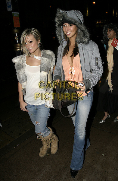 JAKKI DEGG & LEILANI.ASOS.com Party, CC,Club, Coventry Street, London, .October 14th 2004..full length jackie fur trimmed hood parker jacket fluffy brown boots gilet.Ref: AH.www.capitalpictures.com.sales@capitalpictures.com.©Capital Pictures.