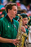 18 February 2018: The University of Vermont Pep Band Members entertain the crowd during a time out of a game against the Hartford Hawks at Patrick Gymnasium in Burlington, Vermont. The Catamounts fell to the Hawks 69-68 in their America East Conference matchup. Mandatory Credit: Ed Wolfstein Photo *** RAW (NEF) Image File Available ***