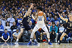 DURHAM, NC - JANUARY 29: Duke's Marvin Bagley III (35) and Notre Dame's John Mooney (33). The Duke University Blue Devils hosted the University of Notre Dame Fighting Irish on January 29, 2018 at Cameron Indoor Stadium in Durham, NC in a Division I men's college basketball game. Duke won the game 88-66.