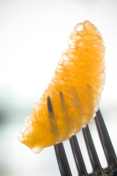 section of orange on fork<br />