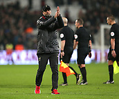 4th February 2019, London Stadium, London, England; EPL Premier League football, West Ham United versus Liverpool; A disappointed Liverpool Manager Jurgen Klopp applauding the Liverpool fans at full time