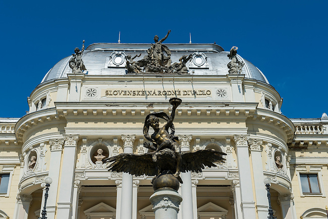 Detail of opera house in the old town of Bratislava, the capital of Slovakia.