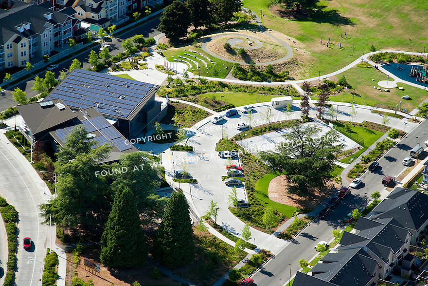 High Point, West Seattle, WA; An aerial view of the community center amd public park at High Point, a mixed housing development in West Seattle.