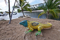 Grand Cayman. Camara Bay Marina. Blue Iguana sculpture.