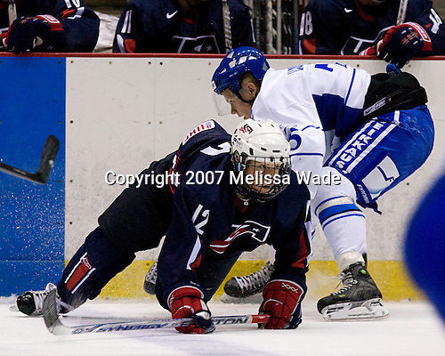 Jordan Schroeder (US/US Under-18 - Lakeville, MN), Ville Lajunen (Finland/Kuovola KooKoo - Finland) - USA Team Blue defeated Team Finland 4-1 on Friday, August 10, 2007, at the 1980 Rink at Lake Placid, New York during the Summer Hockey Challenge.