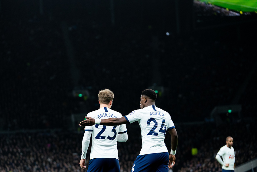 Tottenham's Serge Aurier screams instructions at teammate Christian Eriksen after Tottenham concede a corner<br /> <br /> Photographer Stephanie Meek/CameraSport<br /> <br /> The Premier League - Tottenham Hotspur v Liverpool - Saturday 11th January 2020 - Tottenham Hotspur Stadium - London<br /> <br /> World Copyright © 2020 CameraSport. All rights reserved. 43 Linden Ave. Countesthorpe. Leicester. England. LE8 5PG - Tel: +44 (0) 116 277 4147 - admin@camerasport.com - www.camerasport.com
