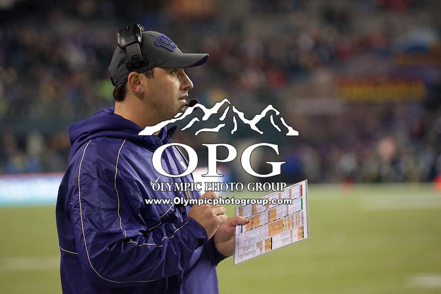 NOV 10, 2012:  Washington's Steve Sarkisian against Utah.  Washington defeated Utah  34-15 at CenturyLink Field in Seattle, WA...
