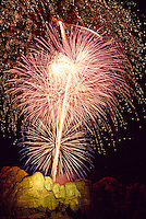 Fourth of July fireworks display over Mount Rushmore National Memorial (near Rapid City), South Dakota USA