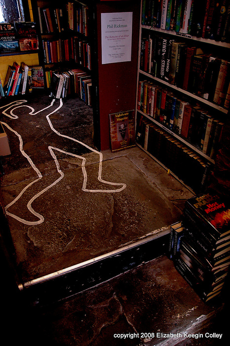Floor art at the Murder and Mayhem Bookshop