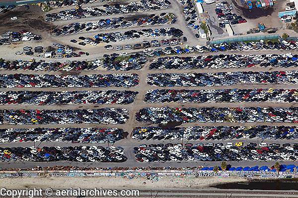 aerial photograph auto junkyard Los Angeles, California