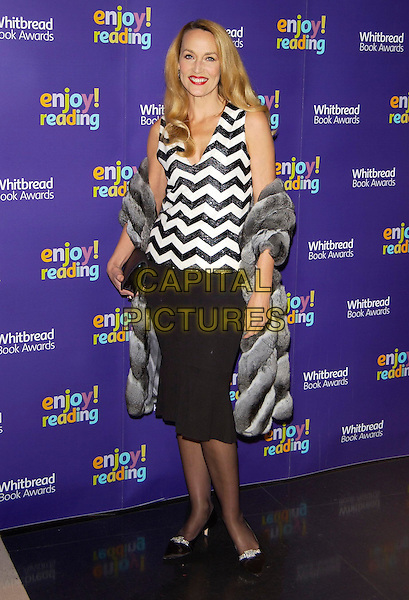 JERRY HALL .Whitbread Book of the Year Award 2004, The Brewery, Chiswell Street, London, January 25th 2005..full length black and white striped zig zag top skirt dress grey fur jacket coat clutch bag purse.Ref: PL.www.capitalpictures.com.sales@capitalpictures.com.©Capital Pictures.