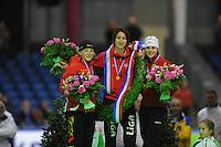 SCHAATSEN: HEERENVEEN: Thialf, KPN NK Sprint, 30-12-11, Thijsje Oenema, Margot Boer, Marrit Leenstra, ©foto: Martin de Jong.