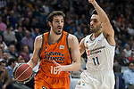 Real Madrid Facundo Campazzo and Valencia Basket Guillem Vives during Liga Endesa match between Real Madrid and Valencia Basket at Wizink Center in Madrid , Spain. March 25, 2018. (ALTERPHOTOS/Borja B.Hojas)