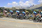 The peloton including Movistar Team on the Cat 2 climb to Puerto de Confrides during Stage 2 of La Vuelta 2019 running 199.6km from Benidorm to Calpe, Spain. 25th August 2019.<br /> Picture: Ann Clarke | Cyclefile<br /> <br /> All photos usage must carry mandatory copyright credit (© Cyclefile | Ann Clarke)