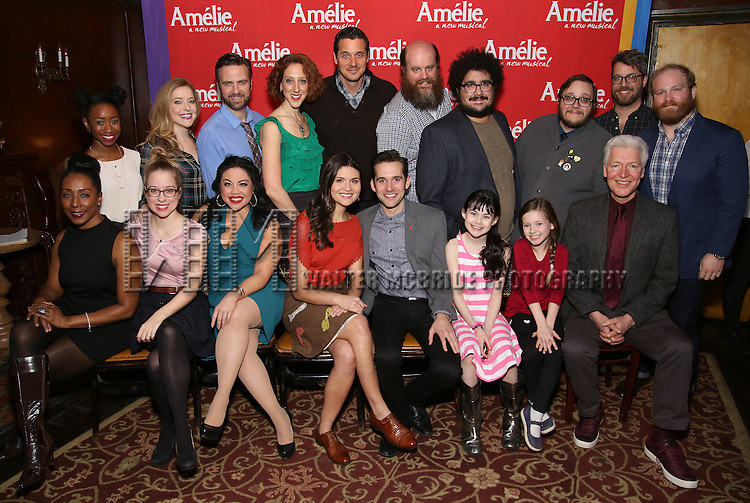 """Phillipa Soo and Adam Chanler-Beret and cast attend the """"Amelie"""" Broadway Musical Sneak Peek Concert at the Cutting Room on February 10, 2017 in New York City."""
