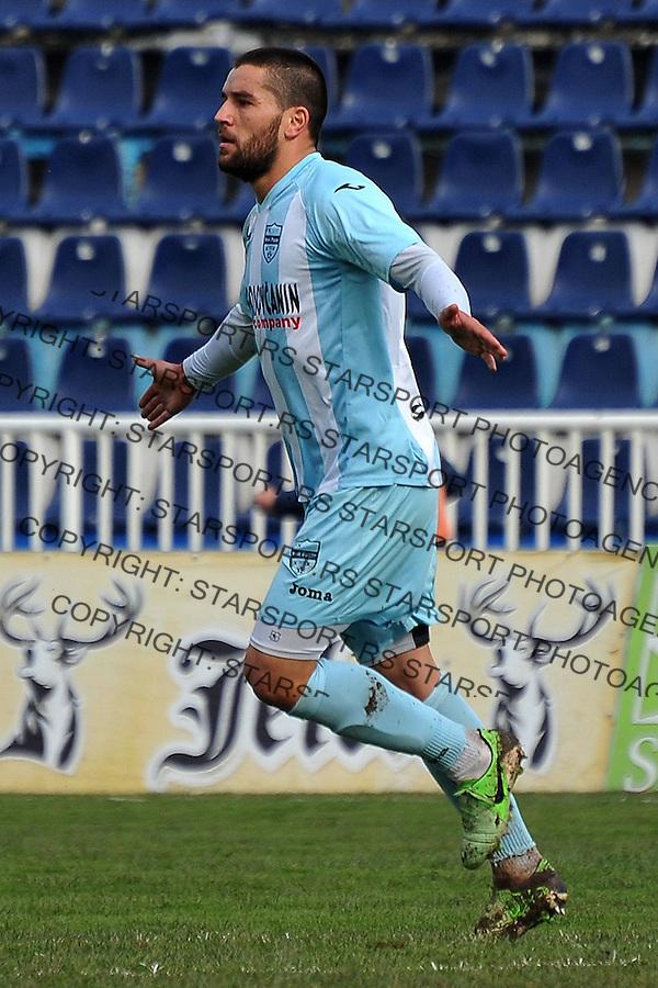 Fudbal Super liga season 2014-2015<br /> Novi Pazar v OFK Beograd<br /> Strelac Miroljub Kostic (#5) FK Novi Pazar proslavlja pogodak<br /> Novi Pazar, 14. 3. 2015<br /> foto: Emir Sadovic/Starsportphoto &copy;