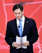 United States Senator Marco Rubio (Republican of Florida) arrives to speak at the Conservative Political Action Conference (CPAC) at the Gaylord National at National Harbor, Maryland on Friday, February 27, 2015.<br /> Credit: Ron Sachs / CNP