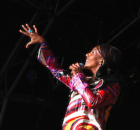 Zap Mama (Marie Daulne)<br /> Belgian Afro-pop and polyphonic singer.<br /> WOMAD Festival, Reading, England, July 2004.