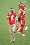 27.06.2020, Fussball: nph00001 1. Bundesliga 2019/2020, 34. Spieltag, VfL Wolfsburg - FC Bayern Muenchen, in der Volkswagen-Arena Wolfsburg. Siegerehrung nach dem Spiel: Der FC Bayern MŸnchen feiert den Gewinn der 30. Deutschen Meisterschaft. Sportdirektor Hasan Salihamizic (Bayern MŸnchen)<br /><br />Foto: Bernd Feil/M.i.S./ /Pool/nordphoto<br /><br />Nur fŸr journalistische Zwecke! Only for editorial use! <br /><br />GemŠ§ den Vorgaben der DFL Deutsche Fussball: nph00001 Liga ist es untersagt, in dem Stadion und/oder vom Spiel angefertigte Fotoaufnahmen in Form von Sequenzbildern und/oder videoŠhnlichen Fotostrecken zu verwerten bzw. verwerten zu lassen. DFL regulations prohibit any use of photographs as image sequences and/or quasi-video.    <br /><br />National and international NewsAgencies OUT.